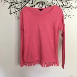 Pink boho tassel sweater. Talbots size P. Cashmere